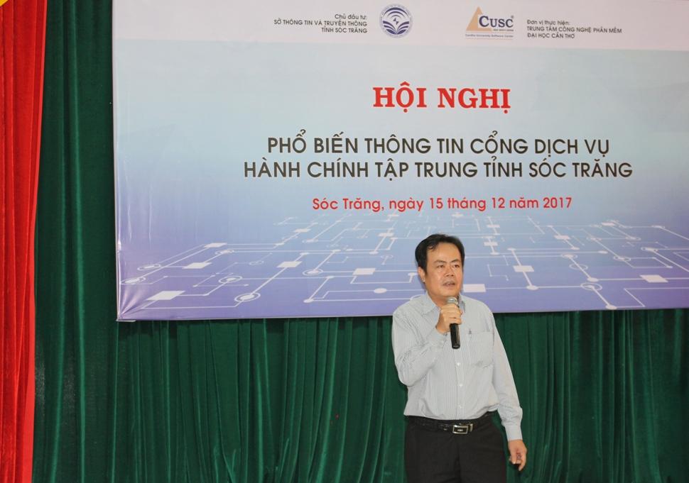 Ông Dương Văn Nhân - Phó Giám đốc Sở Thông tin và Truyền thông tỉnh Sóc Trăng phát biểu tại Hội nghị